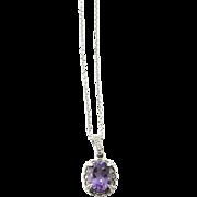 Vintage 14K White Gold Amethyst Diamond Pendant Necklace