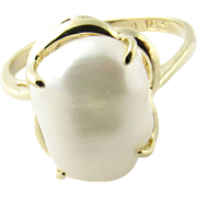 Vintage 14K Yellow Gold Freshwater Pearl Ring Size 7