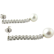 Vintage 18K White Gold Diamond and Cultured Pearl Drop Earrings