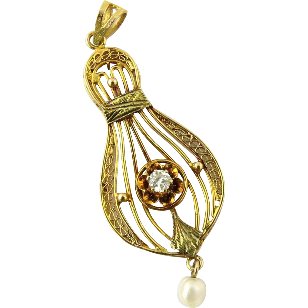 vintage 14k yellow gold and pearl filagree pendant
