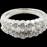 Vintage 14 Karat White Gold Diamond Wedding Band Size 6.25