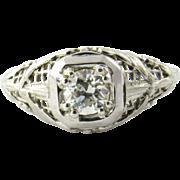 Vintage 14 Karat White Gold Diamond Engagement Ring