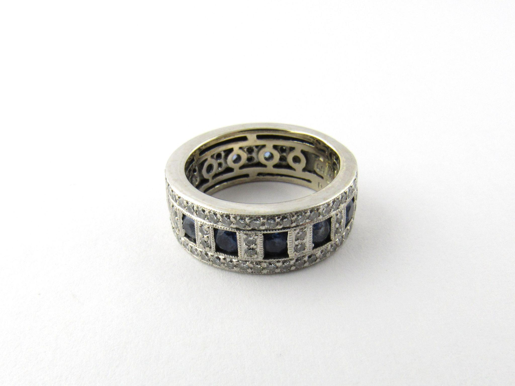 Vintage 24 Karat White Gold Sapphire and Diamond Ring Size 4 5 from ctgoldcus