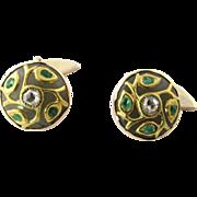 Antique 14 Karat Yellow Gold Diamond and Jade Cufflinks