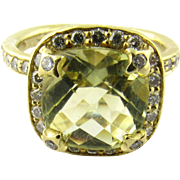Vintage 18K Yellow Gold Diamond and Citrine Ring, Size 7