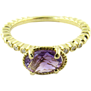 Vintage 18K Yellow Gold Amethyst and Diamond Ring, Size 6