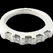 Vintage Platinum Channel Set Princess Cut Diamond Band, Size 6