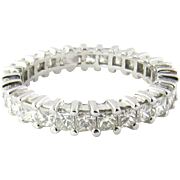 Vintage 14K White Gold Diamond Eternity Band 2.86 carats Size 9