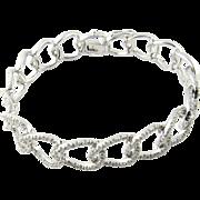 """Vintage 18K White Gold Diamond Oval Link Bracelet 7"""""""