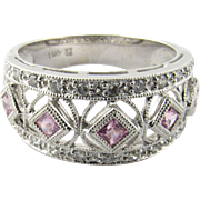 Vintage 14 Karat White Gold Diamond and Pink Tourmaline Ring Size 7