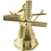 Vintage 14 Karat Yellow Gold Windmill Charm