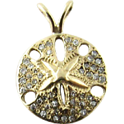 Vintage 14 Karat Yellow Gold Diamond Sand Dollar Charm