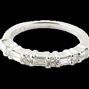 Vintage 18K White Gold Diamond Band, Size 7