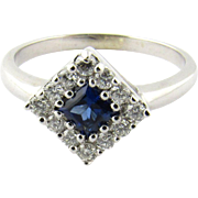 Vintage 18K White Gold Sapphire and Diamond Ring Size 6 1/2