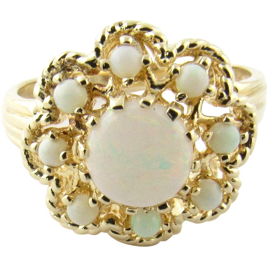 vintage 14k yellow gold opal ring size 8 from
