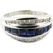 Vintage 14K White Gold Diamond and Sapphire Ring, Size 7