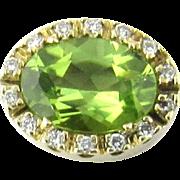 Vintage 14K Yellow Gold Peridot And Diamond Slide Pendant
