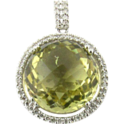 Vintage 14K White Gold Diamond and Citrine Pendant