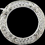 Vintage 14 Karat White Gold Circle Pin