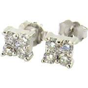 Vintage 14K White Gold Square Set Diamond Studs