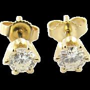 Vintage 14 Karat Yellow Gold Diamond Stud Earrings