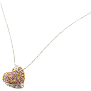 Vintage 18K White and Yellow Gold, Pink and White Diamond Heart Pendant Necklace