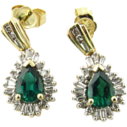 Vintage 14K Yellow and White Gold Emerald and Diamond Drop Earrings