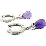 Vintage 14 Karat White Gold Diamond and Amethyst Earrings