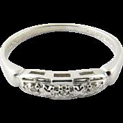 Vintage 14 Karat White Gold Diamond Wedding Band Size 6.5