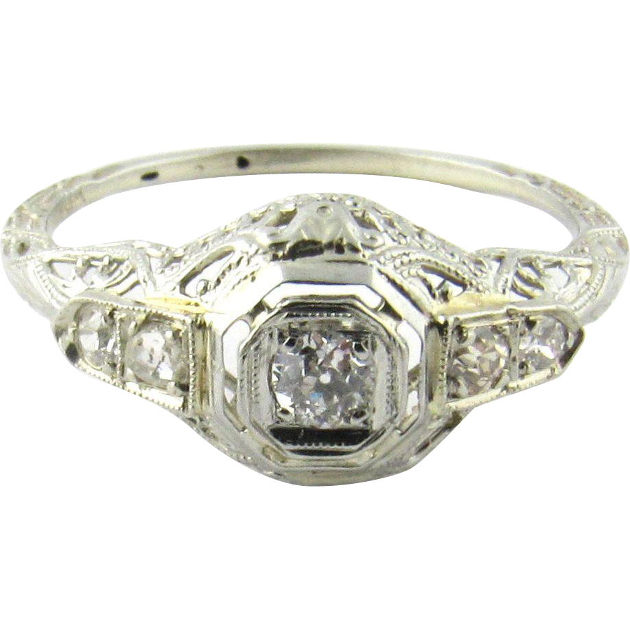 vintage 14 karat white gold diamond engagement ring size 6. Black Bedroom Furniture Sets. Home Design Ideas