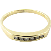 Vintage 14K Yellow Gold Channel Set Diamond Band Size 6.5