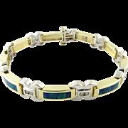 Vintage 14 Karat White Gold Australian Opal and Diamond Bracelet