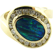 Vintage 14 Karat White Gold Australian Opal and Diamond Ring Size 5.5