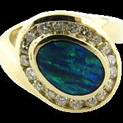 Vintage 14 Karat White Gold Australian Opal and Diamond Ring Size 5.5