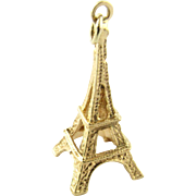 Vintage 18 Karat Yellow Gold Eiffel Tower Charm
