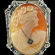 Vintage 14K White Gold Diamond Sapphire Cameo Brooch Pendant