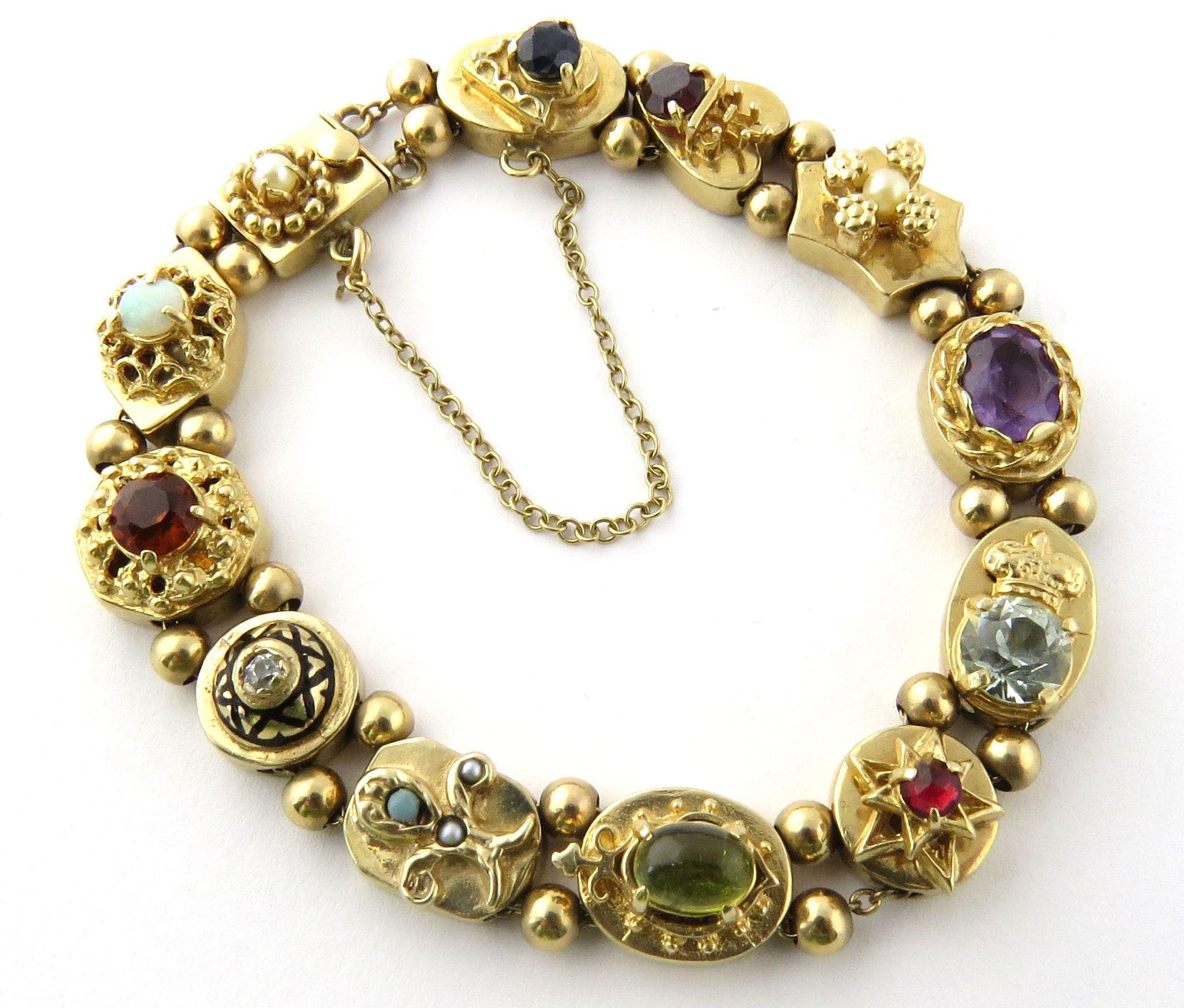 Vintage 14K Yellow Gold Slide Charm Bracelet With Multiple
