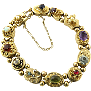 Vintage 14K Yellow Gold Slide Charm Bracelet with Multiple Gemstones and Diamonds