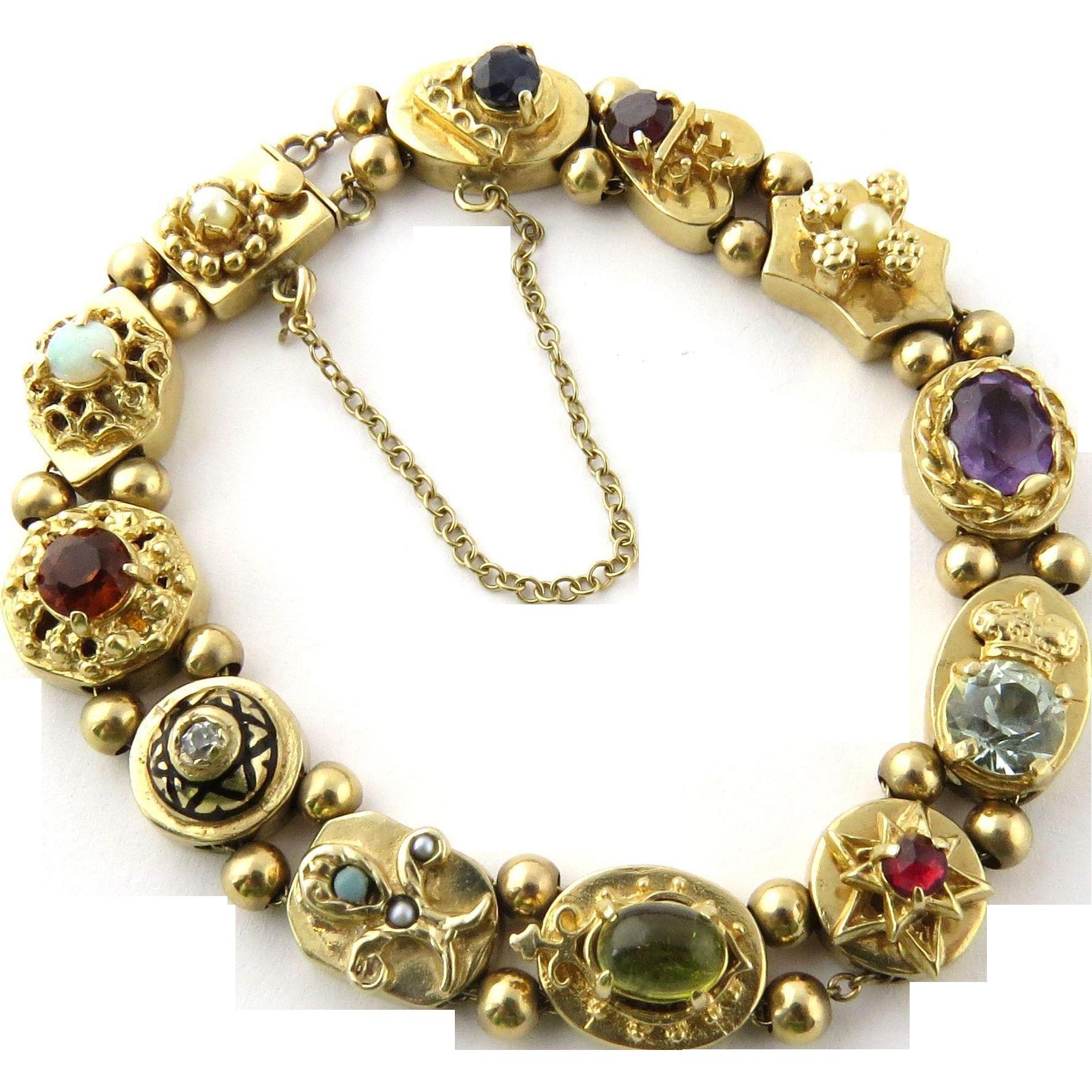 14k Yellow Gold Charm Bracelet: Vintage 14K Yellow Gold Slide Charm Bracelet With Multiple