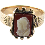 Vintage 9K Yellow Gold Cameo Ring, Size 5 1/2