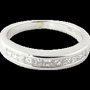 Vintage 14K White Gold Channel Set Princess Cut Diamond, Size 6