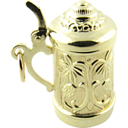 Vintage 14K Yellow Gold Beer Stein Charm