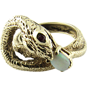 Vintage 14K Yellow Gold Snake Ring with Ruby Eyes and Opal stone size 7