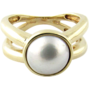 Vintage 14K Yellow Gold Mobe Pearl Ring, Size 7 1/2