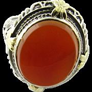 Vintage 14K White Gold Carnelian Ring, Size 6 3/4