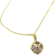 Vintage 14K Yellow Gold Amethyst and Diamond Pendant Necklace