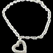 Vintage 14K White Gold Diamond Heart Link Bracelet