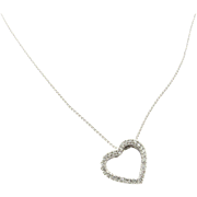 Vintage 14K White Gold and Diamond Open Heart Necklace
