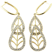 Vintage 14K Yellow Gold and Diamond Drop Leaf Earrings