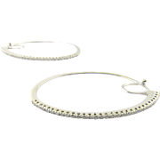 Vintage 14K White Gold Diamond Hoop Earrings